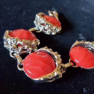 Vintage Judy Lee Cool Brutalist Red Bracelet
